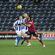 13th February 2018, Rugby Park, Kilmarnock, Scotland; Scottish Premiership football, Kilmarnock versus Dundee; Sofien Moussa of Dundee and Stephen O'Donnell of Kilmarnock