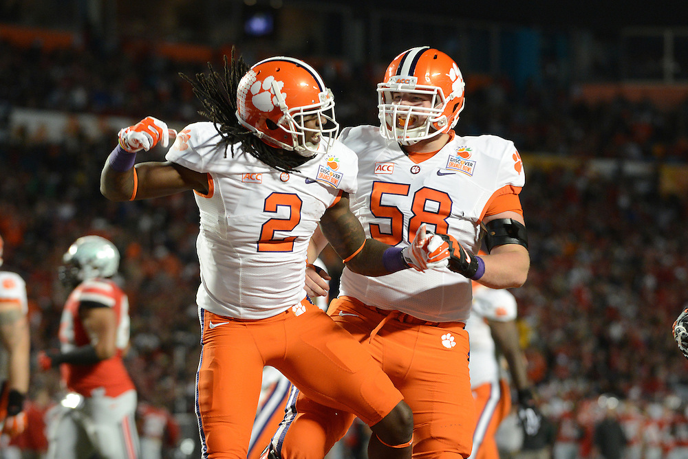 January 3, 2014: Sammy Watkins #2 and Ryan Norton #58 of Clemson celebrate after a touchdown during the NCAA football game between the Clemson Tigers and the Ohio State Buckeyes at the 2014 Orange Bowl in Miami Gardens, Florida. The Tigers defeated the Buckeyes 40-35.