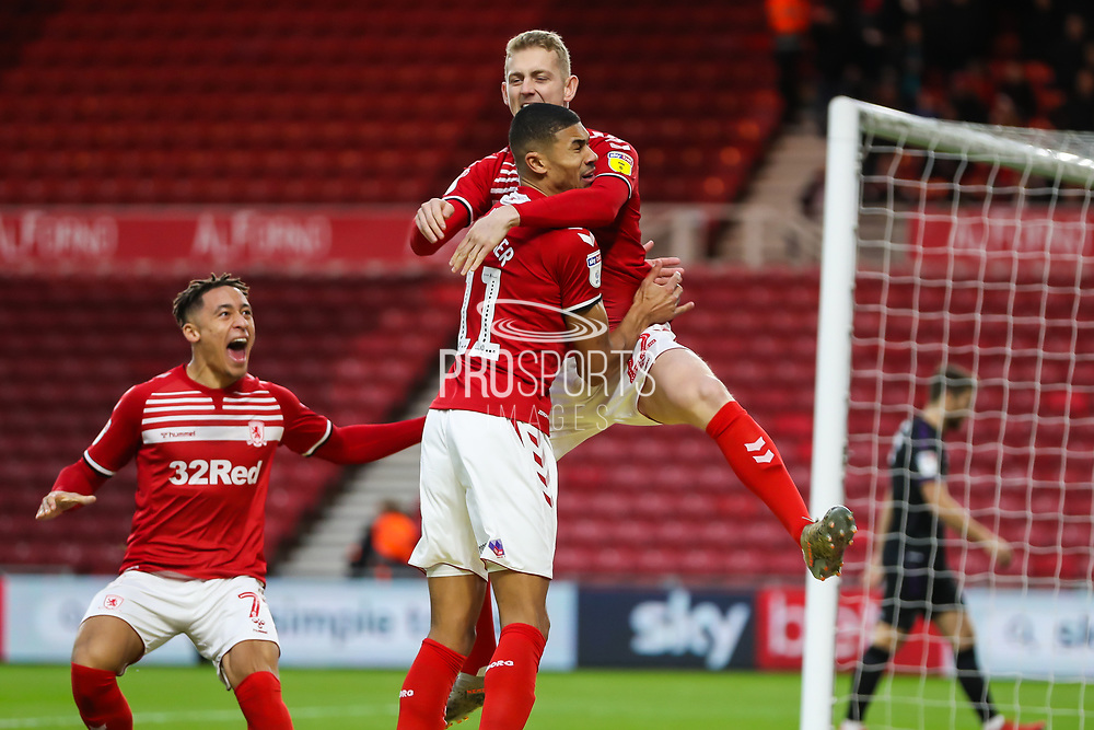 \Middlesbrough midfielder George Saville (22) celebrates after scoring his team's first goal during the EFL Sky Bet Championship match between Middlesbrough and Charlton Athletic at the Riverside Stadium, Middlesbrough, England on 7 December 2019.