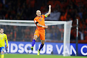 AMSTERDAM, NEDERL&Auml;NDERNA - 2017-10-10: Arjen Robben i Nederl&auml;nderna jublar efter att ha gjort 1-0 p&aring; straff under FIFA 2018 World Cup Qualifier mellan Nederl&auml;nderna och Sverige p&aring; Amsterdam ArenA den 10 oktober, 2017 i Amsterdam, Nederl&auml;nderna. <br /> Foto: Nils Petter Nilsson/Ombrello<br /> ***BETALBILD***