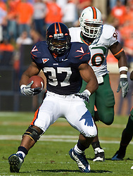Virginia running back Cedric Peerman (37) in action against Miami.  The Virginia Cavaliers faced the Miami Hurricanes in a NCAA football game at Scott Stadium on the Grounds of the University of Virginia in Charlottesville, VA on November 1, 2008.Miami defeated Virginia 24-17 in overtime.