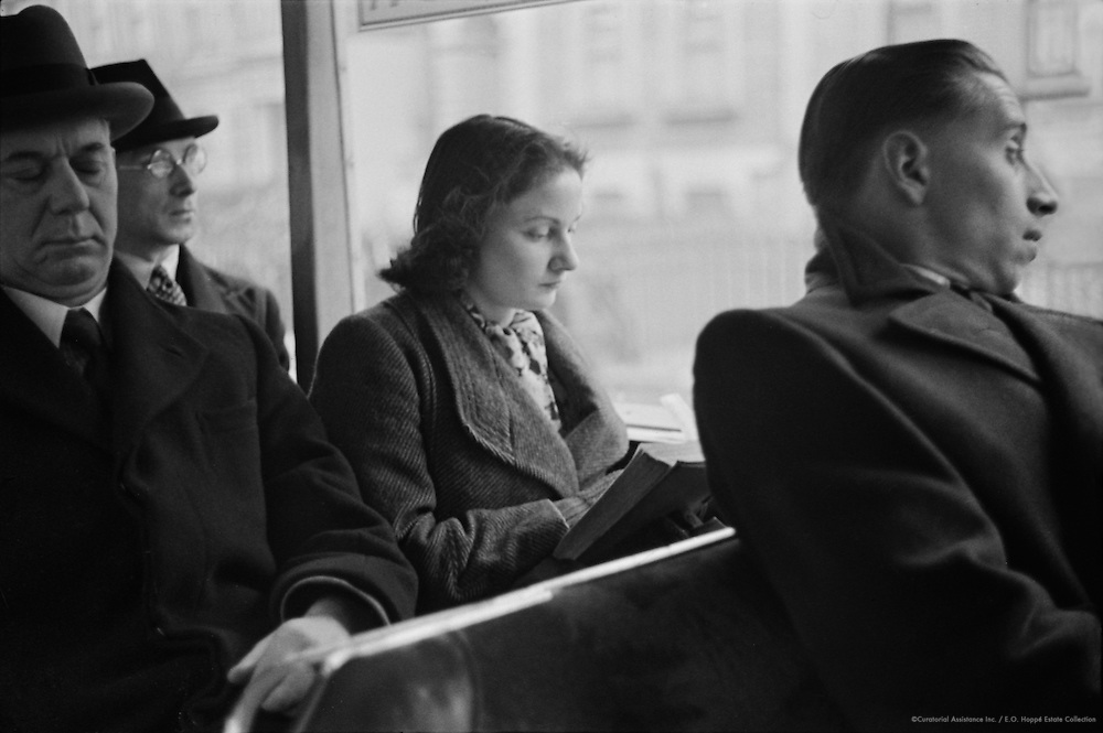 Passengers on a Bus, London, 1945