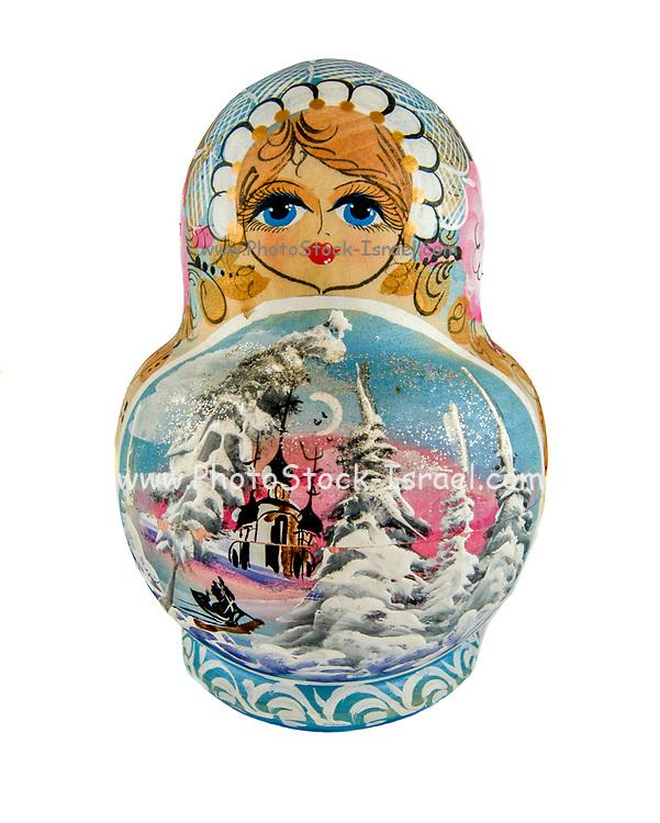 Wooden Russian Matryoshka Doll on white background