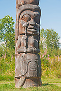 Kispiox Totem Poles. Gitxsan village. Northwest Coast First Nations. Kispiox Valley. , Kispiox, British Columbia, Canada