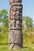 Kispiox Totem Poles. Gitxsan village. Northwest Coast First Nations. Kispiox Valley. , Kispiox, British Columbia, Canada