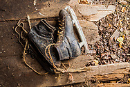 Old Hockey Skates tied with twine, Alberta, Canada