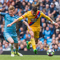 Manchester City midfielder Kevin De Bruyne (17) /and Crystal Palace defender Joel Ward (2) chase a loose ball<br /> in the English Premier League match between Manchester City and Crystal Palace<br /> (c) John Baguley | SportPix.org.uk