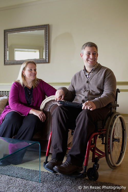 UK ENGLAND HARLOW 23FEB15 - Martin Pistorius with his wife Joanne. He is the author of the 2011 book Ghost Boy, in which he describes living with locked-in syndrome and being unable to move for 12 to 14 years.<br /> <br /> <br /> jre/Photo by Jiri Rezac<br /> <br /> &copy; Jiri Rezac 2015
