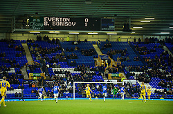 LIVERPOOL, ENGLAND - Thursday, December 17, 2009: Empty seats as the scoreboard records Everton 1-0 defeat to FC BATE Borisov during the UEFA Europa League Group I match at Goodison Park. (Pic by David Rawcliffe/Propaganda)