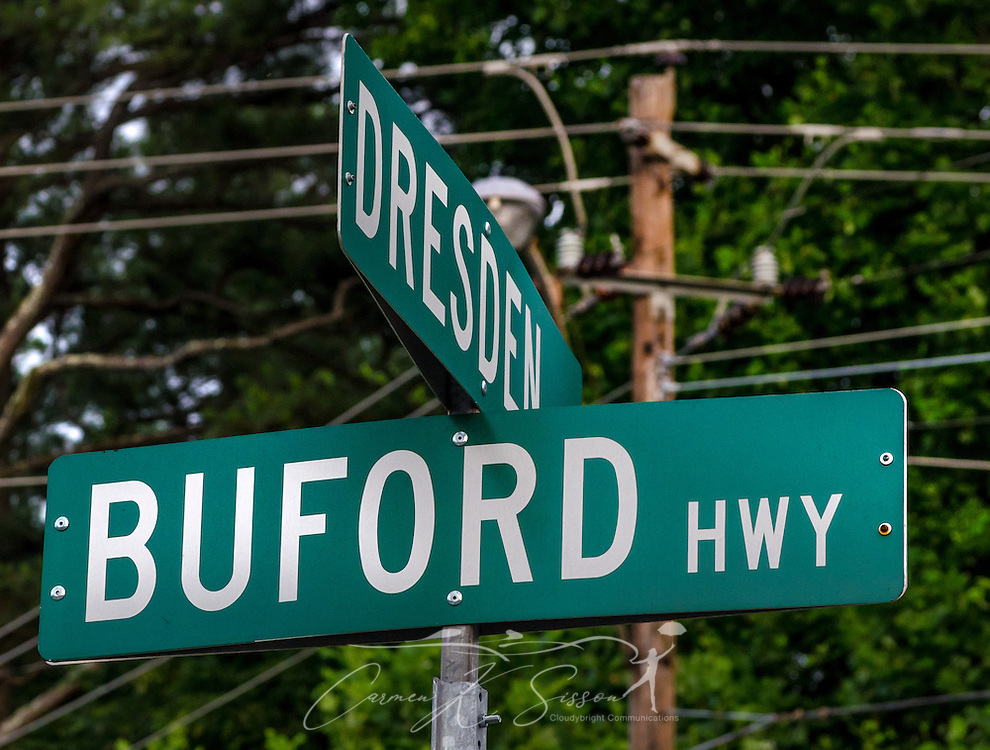 A street sign is posted at the intersection of Buford Highway and Dresden Road, May 29, 2014. in Chamblee, Georgia. (Photo by Carmen K. Sisson/Cloudybright)