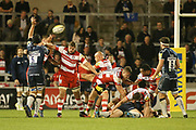 W Heinz (Capt) tries to kick clear during the Aviva Premiership match between Sale Sharks and Gloucester Rugby at the AJ Bell Stadium, Eccles, United Kingdom on 29 September 2017. Photo by George Franks.