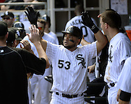 CHICAGO - MAY 25:  Melky Cabrera #53 of the Chicago White Sox celebrates with teammates during the game against the Cleveland Indians on May 25, 2016 at U.S. Cellular Field in Chicago, Illinois.  The Indians defeated the White Sox 4-3.  (Photo by Ron Vesely)    Subject:  Melky Cabrera