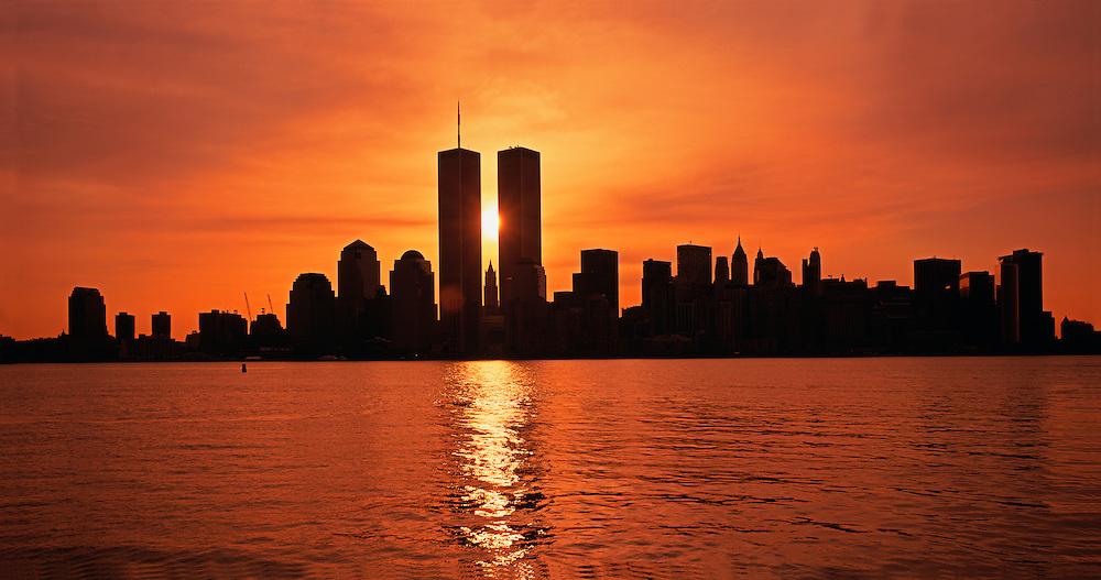 NYC, NY, Sunrise Between Twin Towers, World Trade Center, designed by Minoru Yamasaki, International Style II