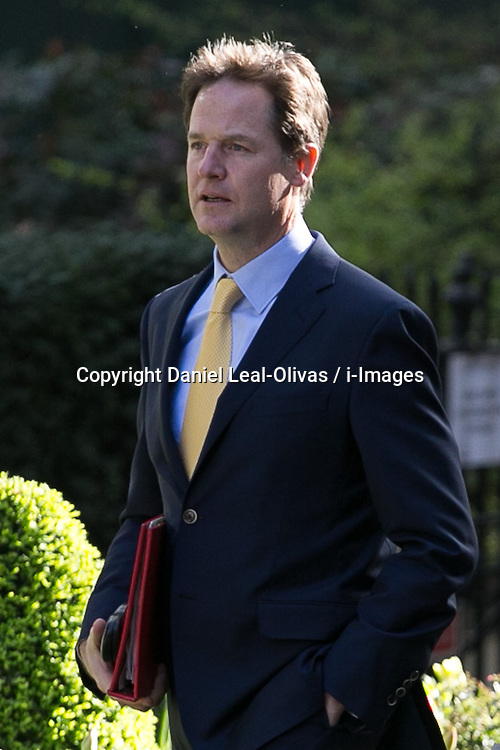 Nick Clegg, the Deputy Prime Minister of the United Kingdom arrives for the cabinet meeting at 10 Downing Street, London, United Kingdom. Tuesday, 8th April 2014. Picture by Daniel Leal-Olivas / i-Images