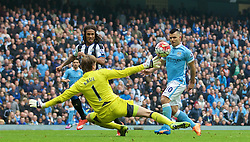 MANCHESTER, ENGLAND - Saturday, October 3, 2015: Manchester City's Sergio Aguero scores the third goal against Newcastle United, his hat-trick goal, during the Premier League match at the City of Manchester Stadium. (Pic by David Rawcliffe/Propaganda)