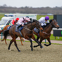 Buying Trouble - Adam Kirby wins from Sir Dudley - Jim Crowley<br /> The 32Red.com Handicap<br /> Lingfield Park<br /> 17/2/16.<br /> &copy;Cranhamphoto.com