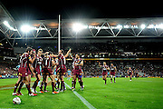 July 6th 2011: Queensland players celebrate a try during game 3 of the 2011 State of Origin series at Suncorp Stadium in Brisbane, QLD, Australia on July 6, 2011. Photo by Matt Roberts / mattrimages.com.au / QRL