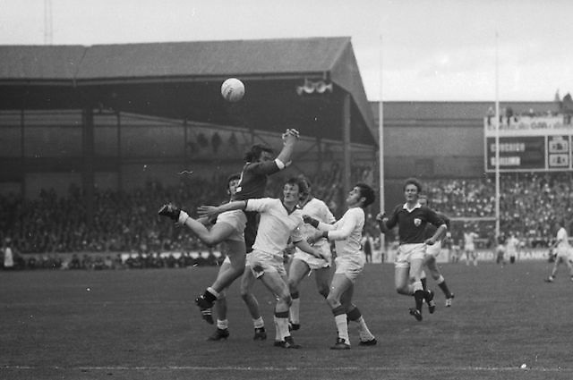 A group of players wait to grab the ball as it falls from the sky during the All Ireland Senior Gaelic Football Championship Final Cork v Galway in Croke Park on the 23rd September 1973. Cork 3-17 Galway 2-13.