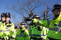 © Licensed to London News Pictures . 11/03/2014 . Barton Moss , Salford , UK . A protester climbs up a tree at the protest camp . Anti-fracking protesters on Barton Moss Road at the Barton Moss protest camp today (11th March 2014) as they have lost a court bid against land owners Peel Holdings to remain on their site . Photo credit : Joel Goodman/LNP