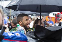 June 10, 2018 - Brooklyn, Michigan, U.S - NASCAR driver BUBBA WALLACE JR. (43) waits for the rain to clear up at Michigan International Speedway. (Credit Image: © Scott Mapes via ZUMA Wire)