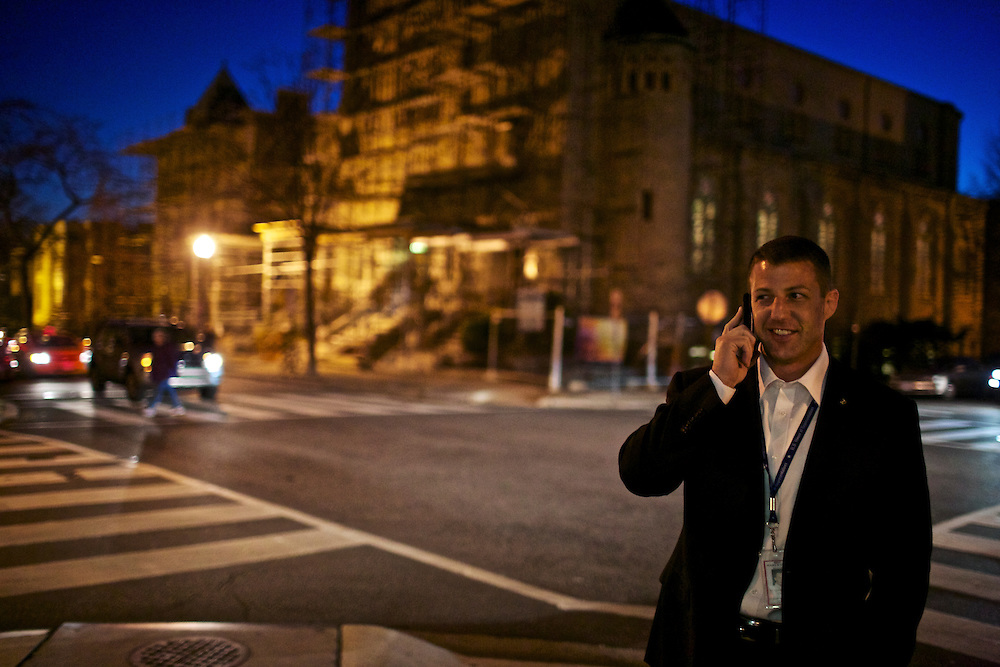 Congressman-elect Markwayne Mullin, from Oklahoma's 2nd District, talks with his wife, Christie, outside of the Capitol Hill Hotel in Washington, DC on Nov. 29, 2012.