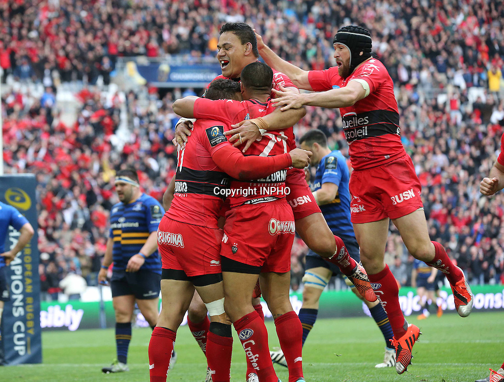 European Rugby Champions Cup Semi-Final, Stade V&eacute;lodrome, Marseille, France 19/4/2015<br /> RC Toulon vs Leinster<br /> Toulon players celebrate Bryan Habana's try <br /> Mandatory Credit &copy;INPHO/Billy Stickland