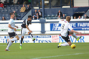 Kane Hemmings fires home Dundee's opener - Raith Rovers v Dundee, pre-season friendly at Starks Park<br /> <br />  - &copy; David Young - www.davidyoungphoto.co.uk - email: davidyoungphoto@gmail.com