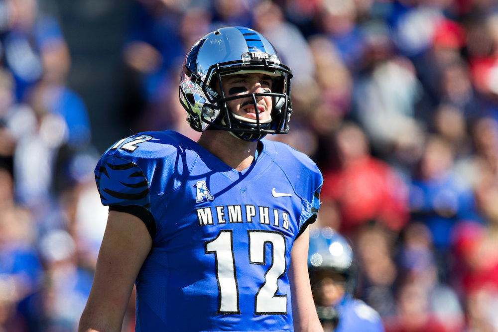 MEMPHIS, TN - OCTOBER 17:  Paxton Lynch #12 of the Memphis Tigers looks over to the sidelines during a game against the Ole Miss Rebels at Liberty Bowl Memorial Stadium on October 17, 2015 in Memphis, Tennessee.  The Tigers defeated the Rebels 37-24.  (Photo by Wesley Hitt/Getty Images) *** Local Caption *** Paxton Lynch