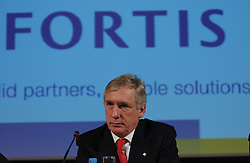 BRUSSELS, BELGIUM - MARCH-10-2005 - Jean-Paul Votron, the chief executive officer of Fortis Bank, speaks during the presentation of Fortis Bank's 2004 annual financial report. (Photo © Jock Fistick)