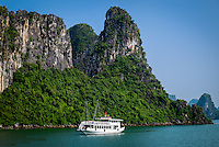 HA LONG BAY, VIETNAM - CIRCA SEPTEMBER 2014:  Tourist boat in Halong Bay, Vietnam.