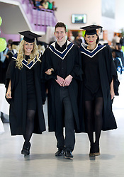 Repro Free: 09/11/2012 Bachelor of Business graduates Deirdre Sheeran from Rathoath, Shane Sweeney from Blanchardstown and Katarzyka Snarska from Clonsilla pictured on their way to receive their degrees at the Institute of Technology Blanchardstown (ITB) conferring ceremony. ITB (Institute of Technology Blanchardstown) were delighted to welcome 653 students back on campus to graduate from their full, part-time and on-line courses an increase of 100 students on 2011's graduation.  Courses graduating today include; Computing, Electronic & Computer Engineering, Mechatronic Engineering, Sustainable Electrical & Control Technology, Horticulture, Business, International Business and Applied Social Studies in Social Care.  Pic Andres Poveda..For further information please contact : Ann-Marie Sheehan, Aspire PR Tel : 01 827 5181 / 087 298 5569 or email annmarie@aspire-pr.com