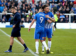 Carl Magnay of Hartlepool United and Padraig Amond of Hartlepool United look dejected after their side are relegated from Sky Bet League Two and The EFL - Mandatory by-line: Robbie Stephenson/JMP - 06/05/2017 - FOOTBALL - The Northern Gas and Power Stadium (Victoria Park) - Hartlepool, England - Hartlepool United v Doncaster Rovers - Sky Bet League Two