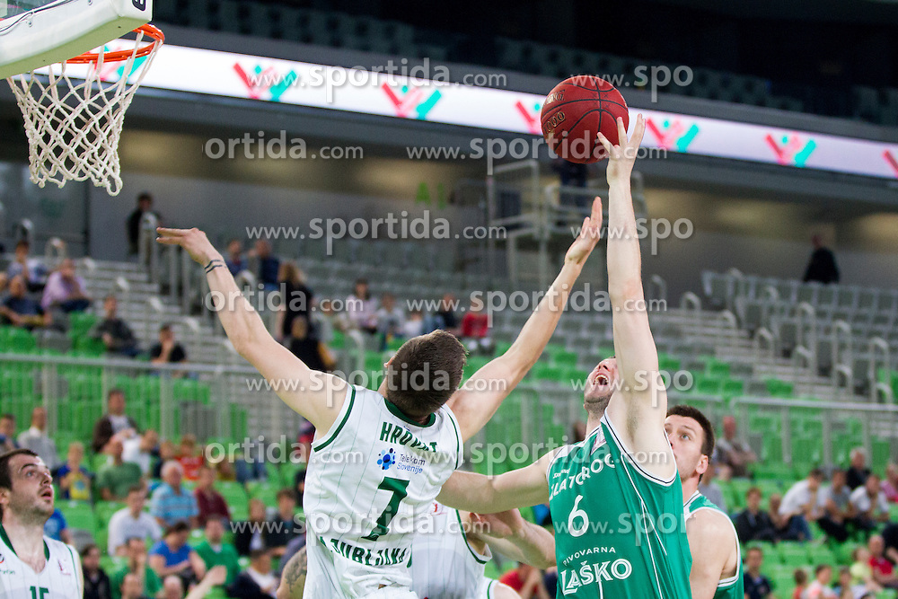 Gregor Hrovat #7 of KK Union Olimpija and Dejan Jeftic #6 of KK Zlatorog Lasko during basketball match between KK Union Olimpija and KK Zlatorog Lasko in semi-final of Nova KBM Champions League 2015/16, on May 23, 2016 in SRC Stozice, Ljubljana, Slovenia. Photo by Urban Urbanc / Sportida