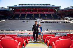 LIVERPOOL, ENGLAND - Sunday, June 18, 2017: Marcus Willis and his wife Jenny Bate visit Anfield during Day Four of the Liverpool Hope University International Tennis Tournament 2017. (Pic by David Rawcliffe/Propaganda)