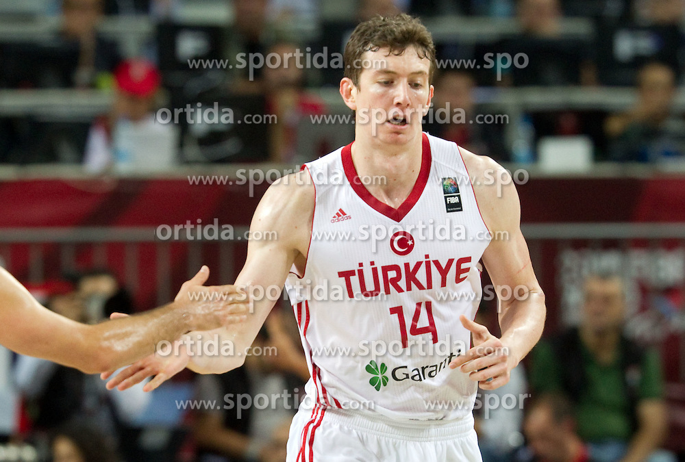 Omer Asik of Turkey during  the eight-final basketball match between National teams of Turkey and France at 2010 FIBA World Championships on September 5, 2010 at the Sinan Erdem Dome in Istanbul, Turkey. (Photo By Vid Ponikvar / Sportida.com)