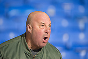 Angry Charlton fan after his side 0-0 draw after the Sky Bet Championship match between Bolton Wanderers and Charlton Athletic at the Macron Stadium, Bolton, England on 19 April 2016. Photo by John Marfleet.