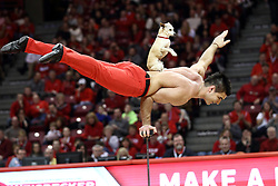 "14 February 2015:   Christian Stoniev is an entertainer performing feats of strength with hand stands and power gymnastic moves.  He and his dog Snoopy were runner ups on the talent television show ""America's Got Talent""  The human-canine duo performed before a crowd at half time of an NCAA MVC men's basketball game between the Wichita State Shockers and Illinois State Redbirds inside of Redbird Arena in Normal Illinois"