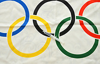 Rio de Janeiro-Brazil, March 18, 2020, coronavirus (covid19) and the 2020 Olympic Games, the flag of the games represents the difficult times in Japan's Olympics