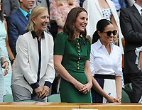Tennis - 2019 Wimbledon Championships - Week Two, Saturday (Day Twelve)<br /> <br /> Women's Singles, Final: Serena Williams (USA) vs. Simona Halep (ROU)<br /> <br /> HRH The Duchess of Cambridge (Cate) with HRH The Duchess of Sussex (Meghan) laugh at Halep's talk after the match, on Centre Court.<br /> Martina Navratilova (left)<br /> <br /> COLORSPORT/ANDREW COWIE