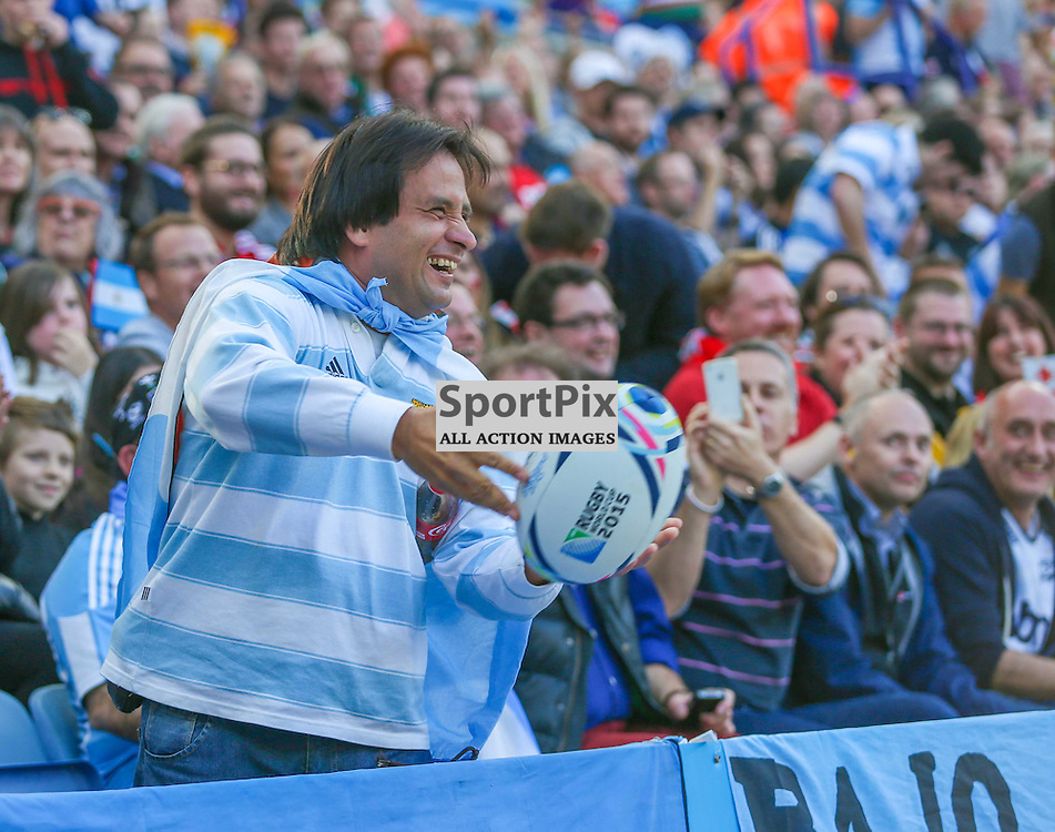 A delighted Argentina fan returs the ball after a successful Argentina conversion during the Rugby World Cup Argentina v Tonga, Sunday 04 October 2015, Leicester City Stadium, Leicester, England Stadium (Photo by Mike Poole - SportPix)