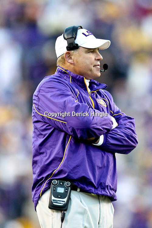 November 6, 2010; Baton Rouge, LA, USA; LSU Tigers head coach Les Miles on the sideline during the second half against the Alabama Crimson Tide at Tiger Stadium. LSU defeated Alabama 24-21.  Mandatory Credit: Derick E. Hingle