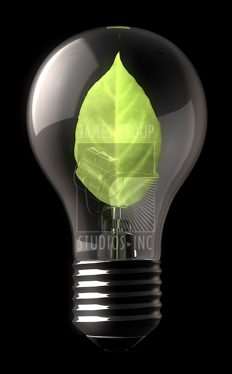A standard lightbulb with a  lit green leaf on the inside.