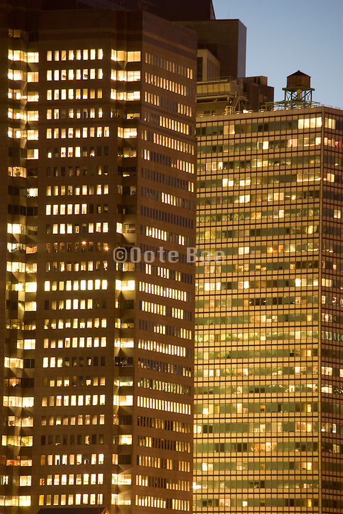close up of office high rise at sunset Down town New York City