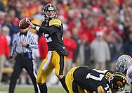 November 20 2010: Iowa Hawkeyes quarterback Ricky Stanzi (12) during the third quarter of the NCAA football game between the Ohio State Buckeyes and the Iowa Hawkeyes at Kinnick Stadium in Iowa City, Iowa on Saturday November 20, 2010. Ohio State defeated Iowa 20-17.