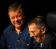 Atlanta -  Former Star Trek stars William Shatner, Captain James Tiberius Kirk and Leonard Nimoy, Mr. Spock,  laugh during their conversation on stage  during the Dragon Con convention at the Hyatt on Friday, September 4, 2009. ©2009 Johnny Crawford