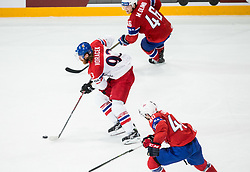 Jakub Voracek of Czech Republic vs Mathis Olimb of Norway and Ken Andre Olimb of Norway during the 2017 IIHF Men's World Championship group B Ice hockey match between National Teams of Czech Republic and Norway, on May 11, 2017 in AccorHotels Arena in Paris, France. Photo by Vid Ponikvar / Sportida