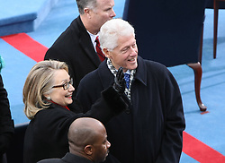 U.S. Secretary of State Hillary Clinton (L) and former president Bill Clinton arrive at the swearing-in ceremony of Barack Obama for his second term as US president on the west front of the Capitol Hill in Washington D.C., capital of the United States, January 21, 2013. Photo by Imago / i-Images...UK ONLY
