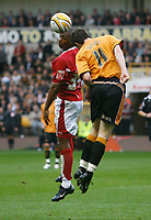 Photo: Steve Bond/Sportsbeat Images.<br /> Wolverhampton Wanderers v Bristol City. Coca Cola Championship. 03/11/2007.Darren Byfield (L) contests a header with Stephen Ward (R)