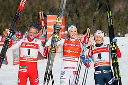 Kathrine Rolsted Harsem of Norway, Stina Nilsson Sweden and Maiken Caspersen Falla of Norway at award ceremony during 1.2 km Sprint Classic race at FIS Cross Country World Cup Planica 2016, on January 20, 2018 at Planica, Slovenia. Photo By Morgan Kristan / Sportida