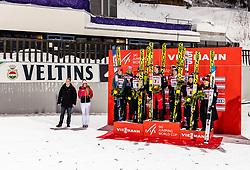 09.02.2019, Salpausselkae Hill, Lahti, FIN, FIS Weltcup Ski Sprung, Teamspringen, Herren, Siegerehrung, im Bild 2. Platz Deutschland, Sieger Oesterreich, 3. Platz japan // 2nd placed Germany winner Austria 3rd placed japan during the winner Ceremony for the men's team event of FIS Ski Jumping World Cup at the Salpausselkae Hill in Lahti, Finland on 2019/02/09. EXPA Pictures © 2019, PhotoCredit: EXPA/ JFK